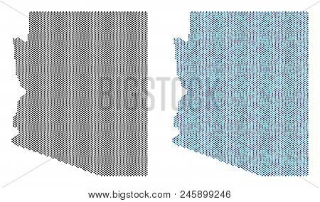 Dotted Arizona State Map Variants. Vector Geographic Schemes In Black Color And Cold Blue Color Tone