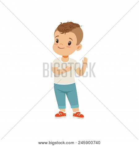 Boy holding hand on a heart honesty truth promise, boy character standing and gesturing, vector Illustration isolated on a white background. poster