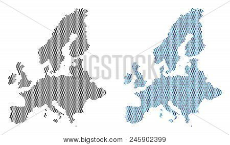Pixelated European Union Map Variants. Vector Geographic Schemes In Black Color And Cold Blue Color