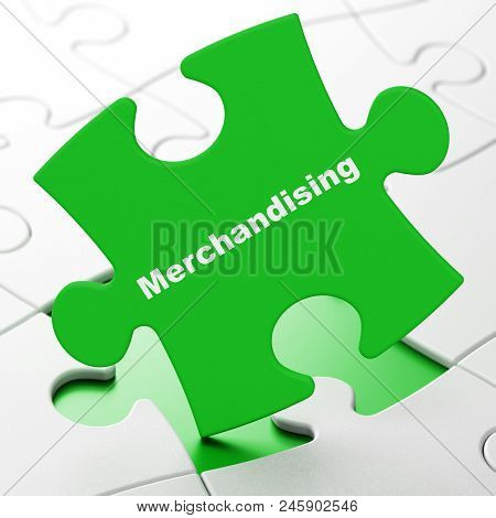 Advertising concept: Merchandising on Green puzzle pieces background, 3D rendering poster