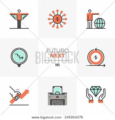 Modern Flat Icons Set Of Business Angel Investor, Crowd Funding. Unique Color Flat Graphics Elements
