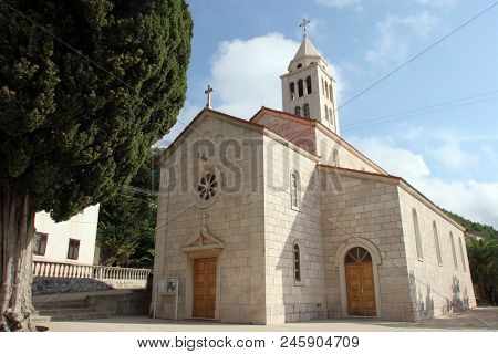 CARA, CROATIA - MARCH 22: Saint Peter church in Cara, Korcula island, Croatia, on March 22, 2017.