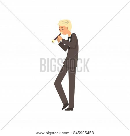 Male Musician Playing Flute, Flutist Man Playing Classical Music Vector Illustration Isolated On A W