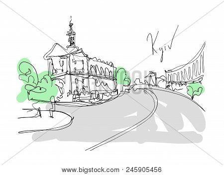 Digital Minimalistic Drawing Of Kyiv Landscape, Central Street Of Historical Part Of The City, Trave