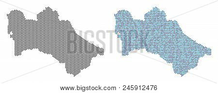 Circle Dot Turkmenistan Map Version. Vector Territory Plans In Black Color And Cold Blue Color Tones