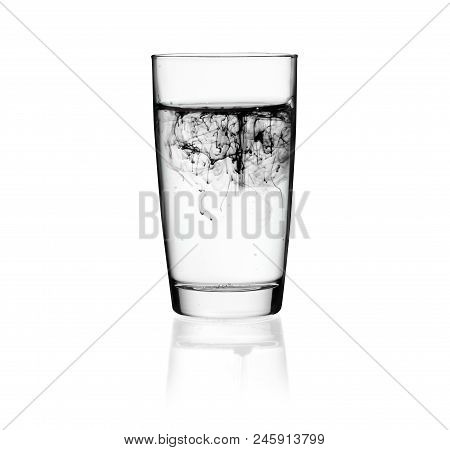 Glass Of Dirty Water. Pollution Concept.