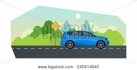 Travel By Car, Planning Summer Vacations. Trip On A Hatchback Car On Country Asphalt Road. Travel By