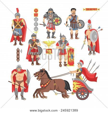 Gladiator Vector Roman Warrior Man Character In Armor With Sword Or Weapon And Shield In Ancient Rom