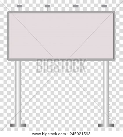 Blank Big Billboard On Transparent Background. Blank Outdoor Billboard With Place For Message. Mock