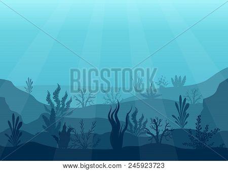 Underwater Ocean Scene. Deep Blue Water, Coral Reef And Underwater Plants. Marine Sea Bottom Silhoue