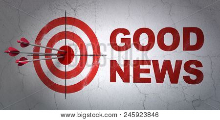 Success News Concept: Arrows Hitting The Center Of Target, Red Good News On Wall Background, 3d Rend