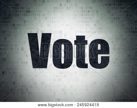 Politics Concept: Painted Black Word Vote On Digital Data Paper Background