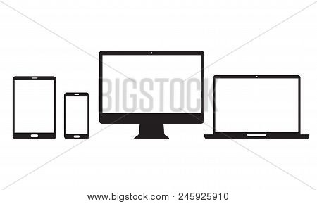 Devices Icons For Responsive Design. Vector Electronic Appliances Line Set Of Mobile Phone Or Smartp