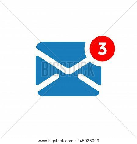 New Message Notification Vector Icon. Three Incoming Messages In Email Notification Box