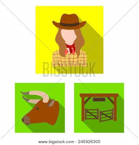 Rodeo, Competition Flat Icons In Set Collection For Design. Cowboy And Equipment Vector Symbol Stock