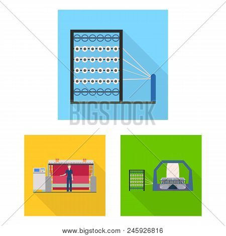Textile Industry Flat Icons In Set Collection For Design.textile Equipment And Fabrics Vector Symbol