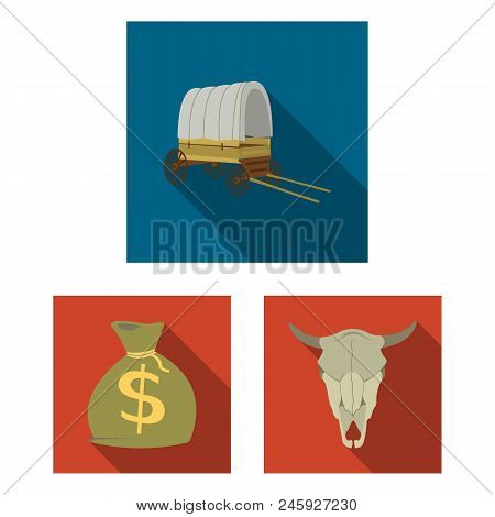 Attributes Of The Wild West Flat Icons In Set Collection For Design.texas And America Vector Symbol
