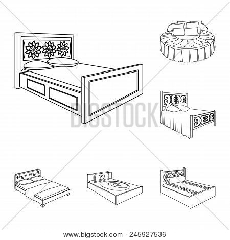 Different Beds Outline Icons In Set Collection For Design. Furniture For Sleeping Vector Isometric S