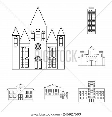Building And Architecture Outline Icons In Set Collection For Design. Construction And Institution V