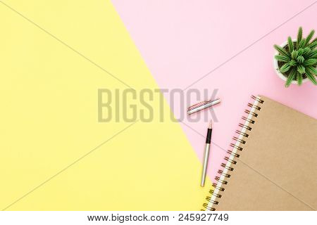 Creative Flat Lay Photo Of Workspace Desk. Top View Office Desk With Open Mock Up Notebooks And Penc