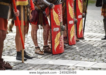Reenactment Detail With Roman Soldiers Uniforms