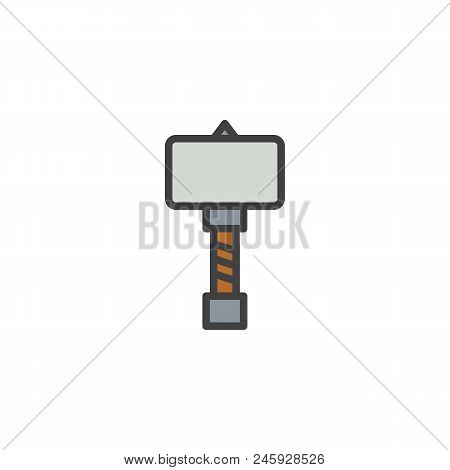 War Hammer Filled Outline Icon, Line Vector Sign, Linear Colorful Pictogram Isolated On White. Medie