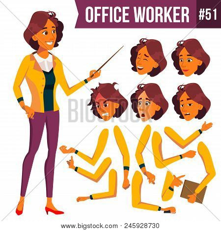 Office Worker Vector. Woman. Happy Clerk, Servant, Employee. Business Human. Face Emotions, Various