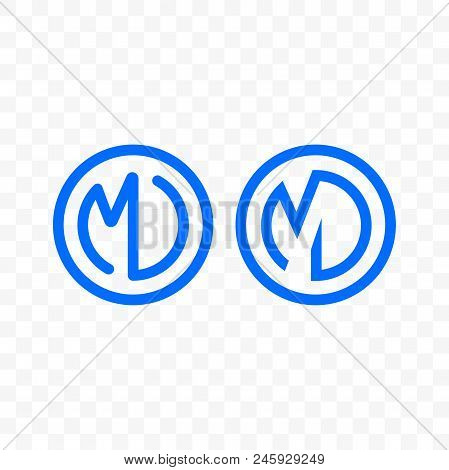 Letter M And D Vector Logo Of Ligature Monogram In Blue Line Circle Icon For Business Or Company Bra