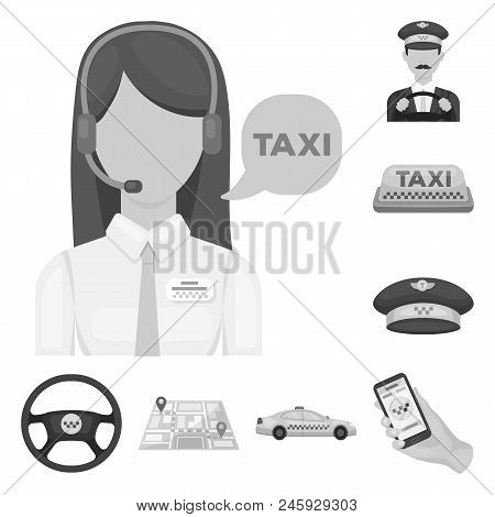 Taxi Service Monochrome Icons In Set Collection For Design. Taxi Driver And Transport Vector Symbol