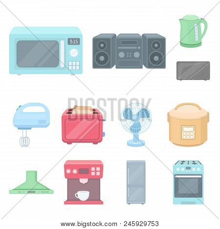 Types Of Household Appliances Cartoon Icons In Set Collection For Design.kitchen Equipment Vector Sy