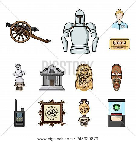 Museum And Gallery Cartoon Icons In Set Collection For Design. Storage And Exhibition Of Showpiece V