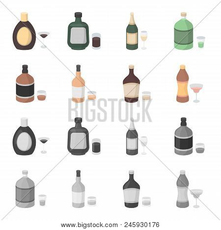 Whiskey, Liquor, Rum, Vermouth.alcohol Set Collection Icons In Cartoon, Monochrome Style Vector Symb