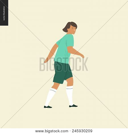 Womens European Football, Soccer Player - Flat Vector Illustration Of A Walking Young Woman Wearing