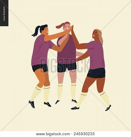 Womens European Football, Soccer Players - Flat Vector Illustration Of Three Female Team Players Wea