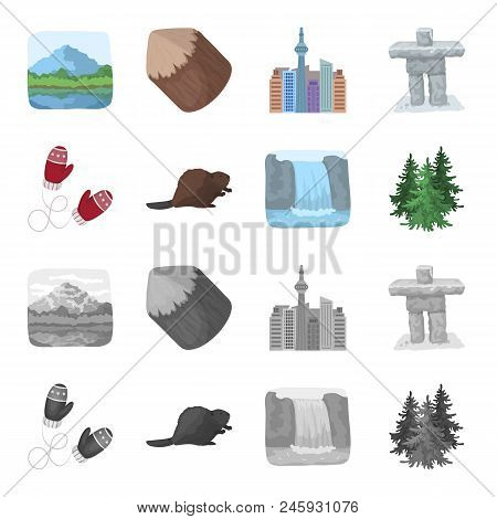 Canadian Fir, Beaver And Other Symbols Of Canada.canada Set Collection Icons In Cartoon, Monochrome