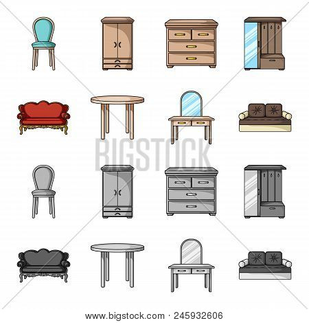 Sofa, Armchair, Table, Mirror .furniture And Home Interiorset Collection Icons In Cartoon, Monochrom