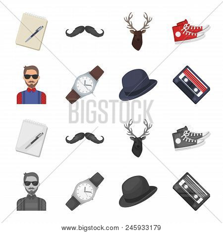 Hipster, Fashion, Style, Subculture .hipster Style Set Collection Icons In Cartoon, Monochrome Style