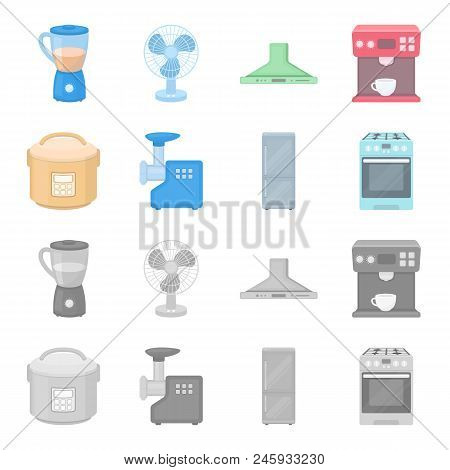 Multivarka, Refrigerator, Meat Grinder, Gas Stove.household Set Collection Icons In Cartoon, Monochr