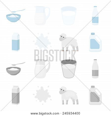 Billet Pack, Sheep.blue, Canister.moloko Set Collection Icons In Cartoon, Monochrome Style Vector Sy
