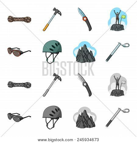 Helmet, Goggles, Wedge Safety, Peaks In The Clouds.mountaineering Set Collection Icons In Cartoon, M