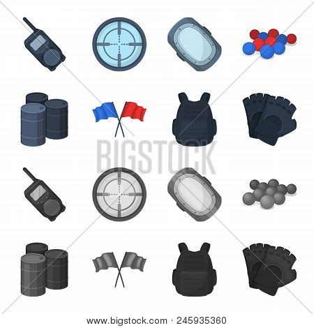 Protective Vest, Gloves And Other Equipment. Paintball Single Icon In Cartoon, Monochrome Style Vect