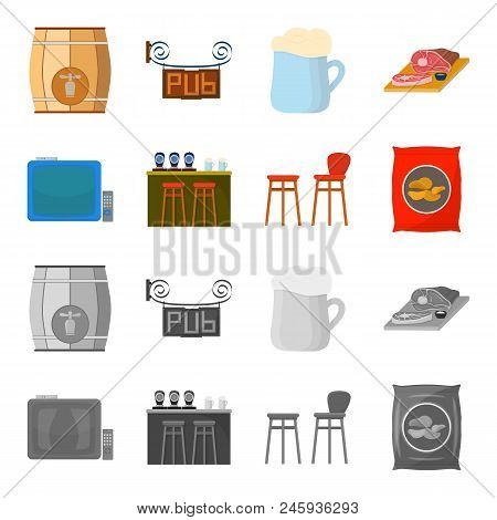 Tv, Bar Counter, Chairs And Armchairs, Potato Chips.pub Set Collection Icons In Cartoon, Monochrome