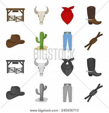 Hat, Cactus, Jeans, Knot On The Lasso. Rodeo Set Collection Icons In Cartoon, Monochrome Style Vecto