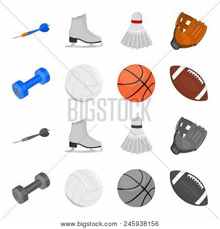 Blue Dumbbell, White Soccer Ball, Basketball, Rugby Ball. Sport Set Collection Icons In Cartoon, Mon