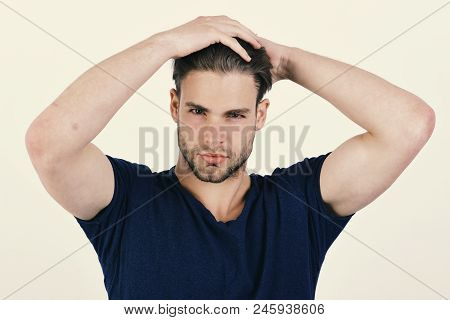 Man With Fair Hair On White Background, Close Up. Masculinity, Fashion And Confidence Concept. Guy W