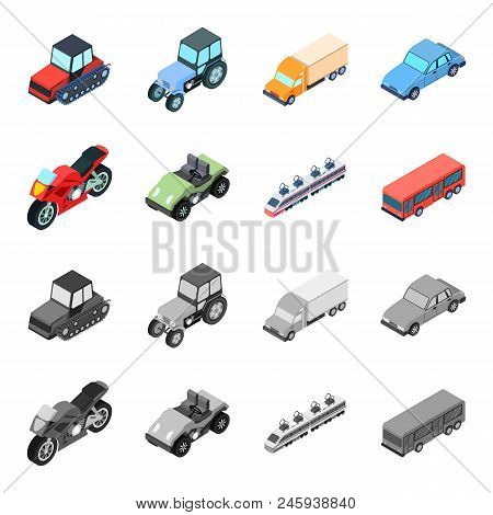 Motorcycle, Golf Cart, Train, Bus. Transport Set Collection Icons In Cartoon, Monochrome Style Vecto