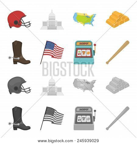 Cowboy Boots, National Flag, Slot Machine, Baseball Bat. Usa Country Set Collection Icons In Cartoon