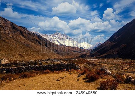 View Of Lothse And Island Peak From Dingboche, Everest Region, Nepal
