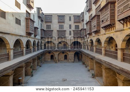 Cairo, Egypt - March 18, 2017: Facade Of Caravansary (wikala) Of Bazaraa, With Vaulted Arcades And W