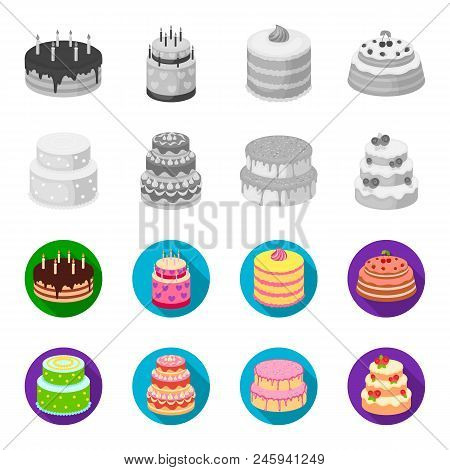Sweetness, Dessert, Cream, Treacle .cakes Country Set Collection Icons In Monochrome, Flat Style Vec